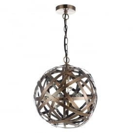 Voyage Single Light Ball Ceiling Pendant in Antique Copper Finish