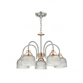 Wharfdale 5 Light Ceiling Pendant In Satin Chrome Finish With Copper Detail