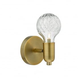 Wrexham Single Light Wall Fitting In Antique Brass Finish