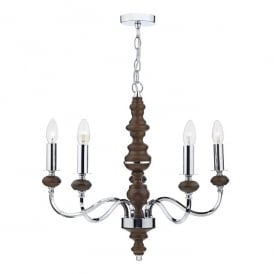 Wyatt 5 Light Ceiling Pendant In Polished Chrome And Dark Wood Finish