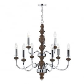 Wyatt 9 Light Ceiling Pendant In Polished Chrome And Dark Wood Finish
