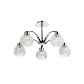 Yasmin 5 Light Semi Flush Ceiling Fitting In Polished Chrome Finish