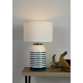 Zabe Single Light Ceramic Table Lamp Base In White And Blue Finish And Ivory Linen Shade