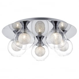 Zeke 5 Light Flush Ceiling Fitting In Polished Chrome Finish With Spun Glass Shades