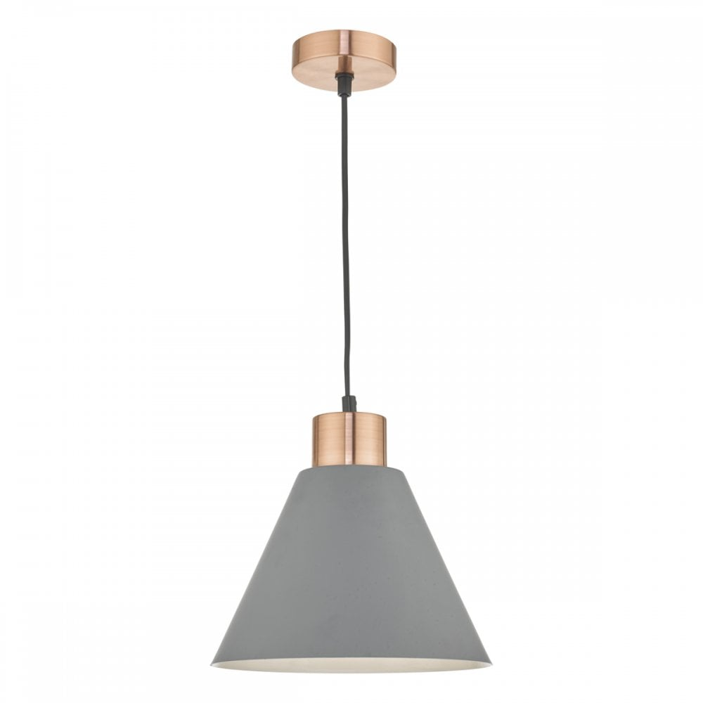 a536a294bcb5 Dar Lighting Zocalo Single Light Ceiling Pendant In Matt Grey And Brushed  Copper Finish Product Code: ZOC0139