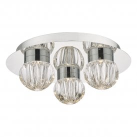 Zondra 3 Light Flush Bathroom Ceiling Fitting In Polished Chrome Finish