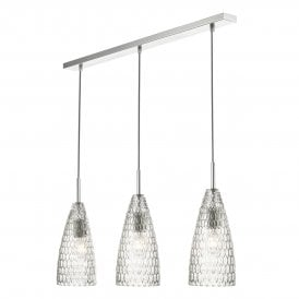 Zuka 3 Light Ceiling Bar Pendant In Polished Chrome Finish with Clear Glass Shades