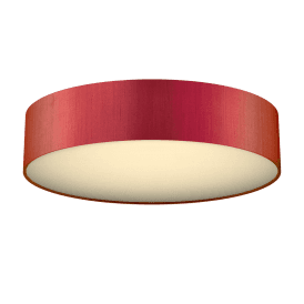 Paolo 4 Light Low Energy Flush Ceiling Fitting with a Firefly Orange 100% Silk Shade