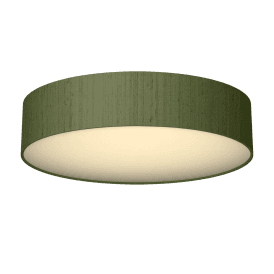 Paolo 4 Light Low Energy Flush Ceiling Fitting with a Olive Green 100% Silk Shade