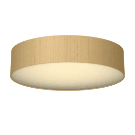 Paolo 4 Light Low Energy Flush Ceiling Fitting with a Sea Mist Gold 100% Silk Shade