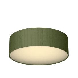 Paolo 50cm Flush Ceiling Fitting With Olive Green 100% Silk Shade