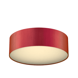 Paolo LED Flush Ceiling Fitting with Firefly Orange Silk Shade
