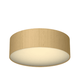 Paolo LED Flush Ceiling Fitting with Sea Mist Gold Silk Shade