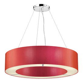POL0411 Polo 4 Light Ceiling Pendant with 100% Silk Firefly Orange Shade