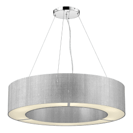 POL0439 Polo 4 Light Ceiling Pendant with 100% Silk Silver Grey Shade