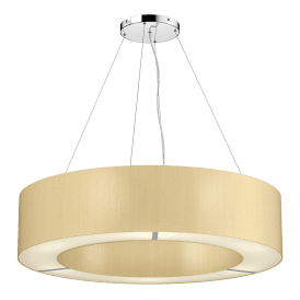 POL0441 Polo 4 Light Ceiling Pendant with 100% Silk Sea Mist Gold Shade