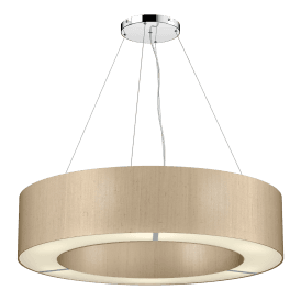 POL0601 Polo 6 Light Ceiling Pendant with 100% Silk Taupe Shade