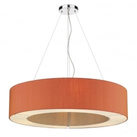 POL0611 Polo 6 Light Ceiling Pendant with 100% Silk Firefly Orange Shade