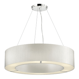 POL0615 Polo 6 Light Ceiling Pendant with 100% Silk Ivory Shade