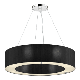 POL0622 Polo 6 Light Ceiling Pendant with 100% Silk Black Shade