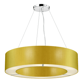 POL0635 Polo 6 Light Ceiling Pendant with 100% Silk Citron Shade