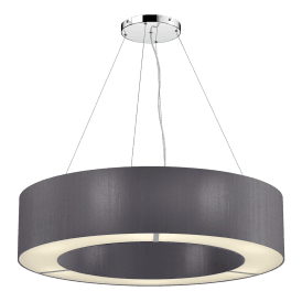 POL0637 Polo 6 Light Ceiling Pendant with 100% Silk Charcoal Shade