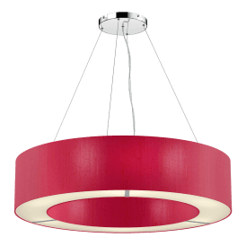 POL0671 Polo 6 Light Ceiling Pendant with 100% Silk Peony Shade