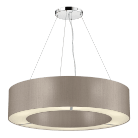 POL0672 Polo 6 Light Ceiling Pendant with 100% Silk Truffle Shade