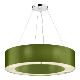 POL0676 Polo 6 Light Ceiling Pendant with 100% Silk Olive Green Shade