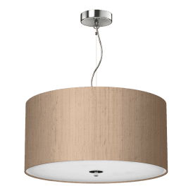 REN1001 Renoir Taupe 3 Light 40cm Ceiling Pendant with Polished Chrome Finish