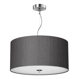 REN1037 Renoir Charcoal 3 Light 40cm Ceiling Pendant with Polished Chrome Finish