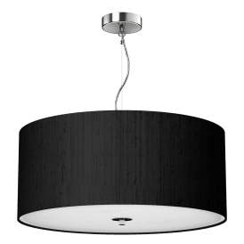 REN1722 Renoir Black 3 Light Medium 60cm Ceiling Pendant with Polished Chrome Finish