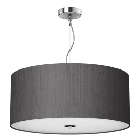 REN1737 Renoir Charcoal 3 Light Medium 60cm Ceiling Pendant with Polished Chrome Finish