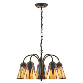 Dark Star 5 Light Ceiling Downlighter Pendant in Tiffany Design