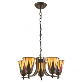 Dark Star 5 Light Ceiling Uplighter Pendant in Tiffany Design