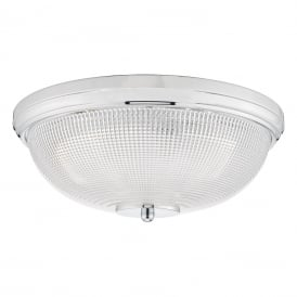 Dato 3 Light Flush Ceiling Fitting in Polished Chrome Finish with Glass