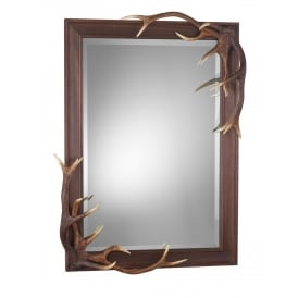 002ANT29 Antler Bevelled Wall Mirror In Highland Rustic Colourings
