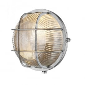 ADM5038 Admiral Single Light Outdoor Round Wall Fitting In Nickel Finish With Glass Diffuser