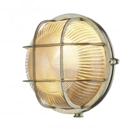 ADM5040 Admiral Single Light Outdoor Round Wall Fitting In Brass Finish With Glass Diffuser