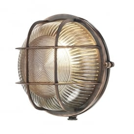 ADM5064 Admiral Single Light Round Wall Fitting In Antique Copper Finish With Glass Diffuser (Outdoor)