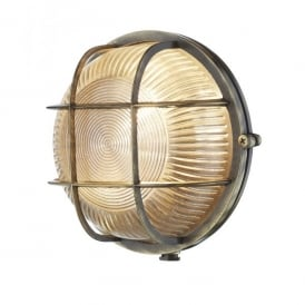 ADM5075 Admiral Single Light Outdoor Round Wall Fitting In Antique Brass Finish With Glass Diffuser