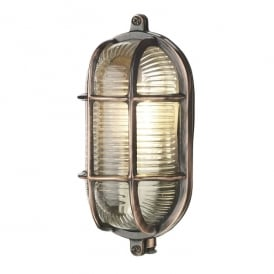 ADM5264 Admiral Single Light Small Oval Wall Fitting In Antique Copper Finish With Glass Diffuser (Outdoor)