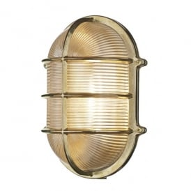 Admiral Single Light Large Outdoor Wall Fitting In Brass Finish With Glass Diffuser