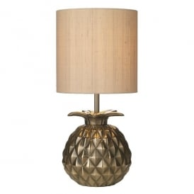 Ananas Single Light Table Lamp In Bronze Finish With Taupe Silk Shade