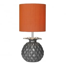 Ananas Single Light Table Lamp In Steel Finish With Firefly Orange Silk Shade