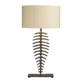 Angler Single Light Table Lamp with Bronze Finish Complete With Taupe 100% Silk Shade