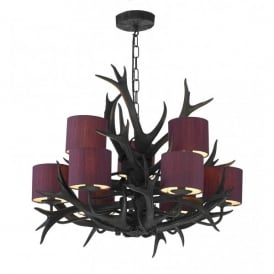 ANT1322 Antler 9 Light Tiered Chandelier with a Black Finish