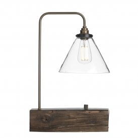 ASP4229 Aspen Single Light Table Lamp with Wood Effect