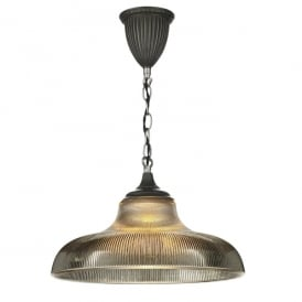 BAD018 Badger Single Light Ceiling Pendant in Steel Finish with Steel Grey Glass