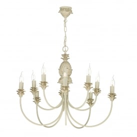 CAB2312 Cabana 10 Light Multi-Arm Ceiling Pendant in Cream and Gold Finish